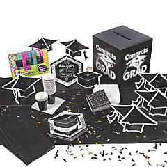 Black & White Congrats Grad Tableware Kit for 24 Guests
