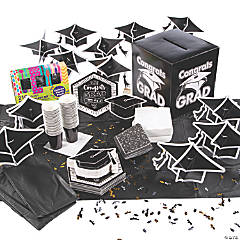 Black & White Congrats Grad Tableware Kit for 48 Guests
