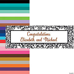 Black & White Filigree Border Wedding Custom Banner - Medium
