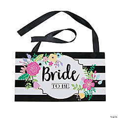 black white stripe bride to be chair sign