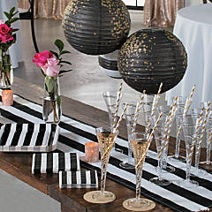 black white stripe floral bridal shower supplies