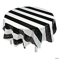 Black & White Stripe Round Tablecloth
