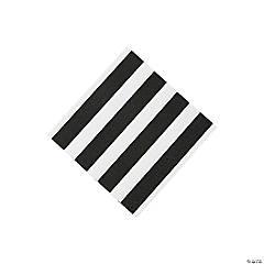 Black & White Striped Beverage Napkins