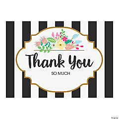 Black & White Striped Bridal Shower Thank You Cards