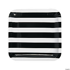 Black & White Striped Paper Dinner Plates - 25 Ct.