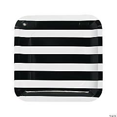 Black & White Striped Paper Dinner Plates