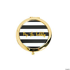 Black & White Striped Pop Bubbly Gold Compact Mirrors