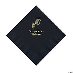 Black Blossom Branch Personalized Napkins with Gold Foil - Luncheon