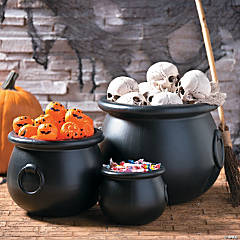 Black Cauldrons Halloween Decorations