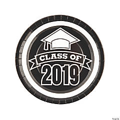 Black Class of 2019 Paper Dinner Plates - 25 Ct.