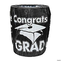 Black Congrats Grad Graduation Plastic Trash Can Cover