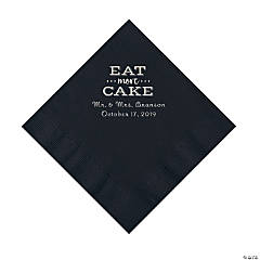 Black Eat Cake Personalized Napkins with Silver Foil - Luncheon