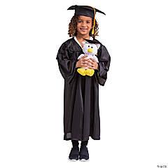 Black Elementary Graduation Robe & Stuffed Owl Kit