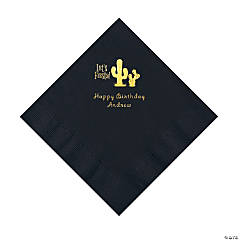 Black Fiesta Personalized Napkins with Gold Foil - Luncheon