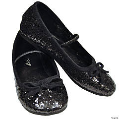 Black Glitter Ballet Shoes for Girls