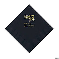 Black God Gave Me You Personalized Napkins with Gold Foil - Luncheon