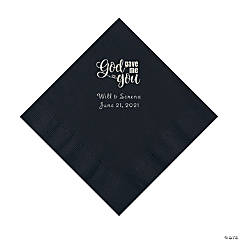 Black God Gave Me You Personalized Napkins with Silver Foil - Luncheon