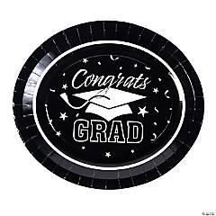Black Graduation Paper Banquet Plates - 25 Ct.