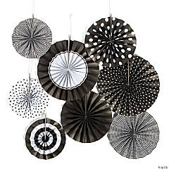 Black Hanging Paper Fan Assortment