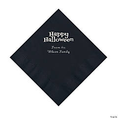 Black Happy Halloween Personalized Napkins with Silver Foil - Luncheon