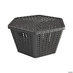 Black Hexagon Woven Storage Baskets with Lid