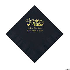 Black I Love You, I Know Personalized Napkins with Gold Foil - Luncheon