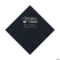 Black I Love You, I Know Personalized Napkins with Silver Foil - Luncheon