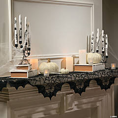 Black Lace Spider Web Mantel Scarf Halloween Decoration