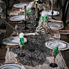 Black Lace Spiderweb Table Runner Halloween Decoration
