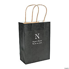 Black Medium Personalized Monogram Welcome Gift Bags with Silver Foil