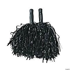 Black Metallic Cheer Pom-Poms - 12 Pc.