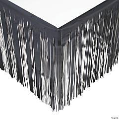 Black Metallic Fringe Plastic Table Skirt