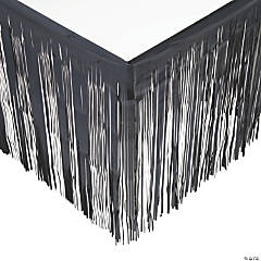 Black Metallic Fringe Table Skirt