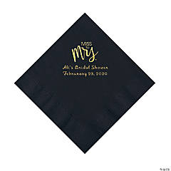 Black Miss to Mrs. Personalized Napkins with Gold Foil - Luncheon