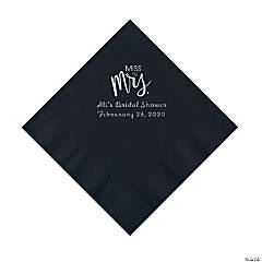 Black Miss to Mrs. Personalized Napkins with Silver Foil - Luncheon