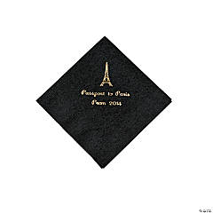 Black Paris Personalized Napkins with Gold Foil - Beverage