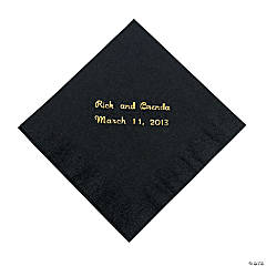 Black Personalized Beverage Napkins with Gold Foil
