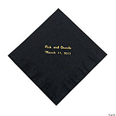 Black Personalized Napkins with Gold Foil - Luncheon
