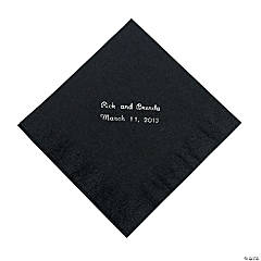 Black Personalized Napkins with Silver Foil - Luncheon
