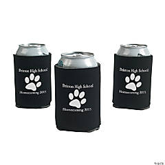 Black Personalized Paw Print Can Coolers