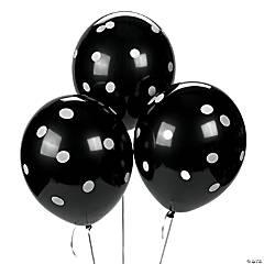 "Black Polka Dot 11"" Latex Balloons"