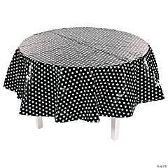 Black Polka Dot Round Plastic Tablecloth