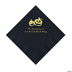 Black Pumpkin Personalized Napkins with Gold Foil – Luncheon
