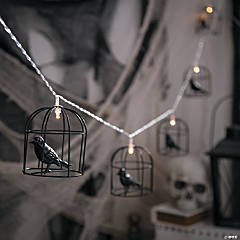 Black Raven/Crow Birdcage String Lights Halloween Decoration
