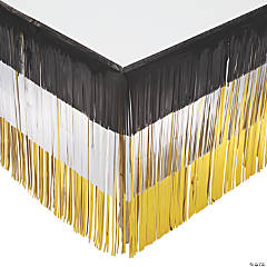 Black Silver & Gold Fringe Table Skirt