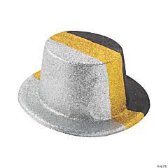 Black Silver & Gold Glitter Top Hats