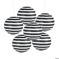 Black Striped Hanging Paper Lanterns
