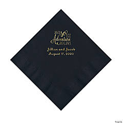 Black The Adventure Begins Personalized Napkins with Gold Foil - Luncheon