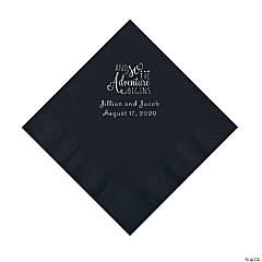 Black The Adventure Begins Personalized Napkins with Silver Foil - Luncheon