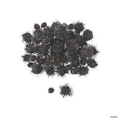 Black Tinsel Pom-Poms